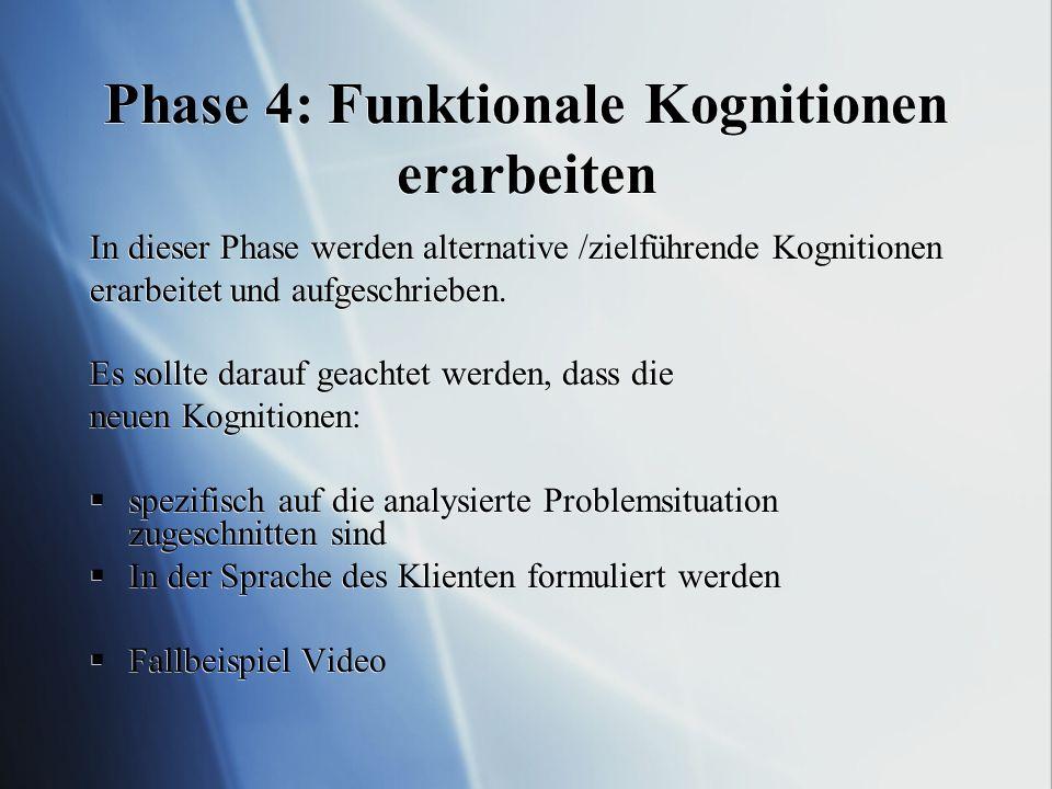 Phase 4: Funktionale Kognitionen erarbeiten