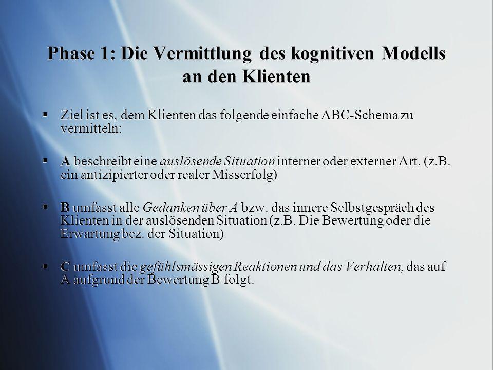 Phase 1: Die Vermittlung des kognitiven Modells an den Klienten