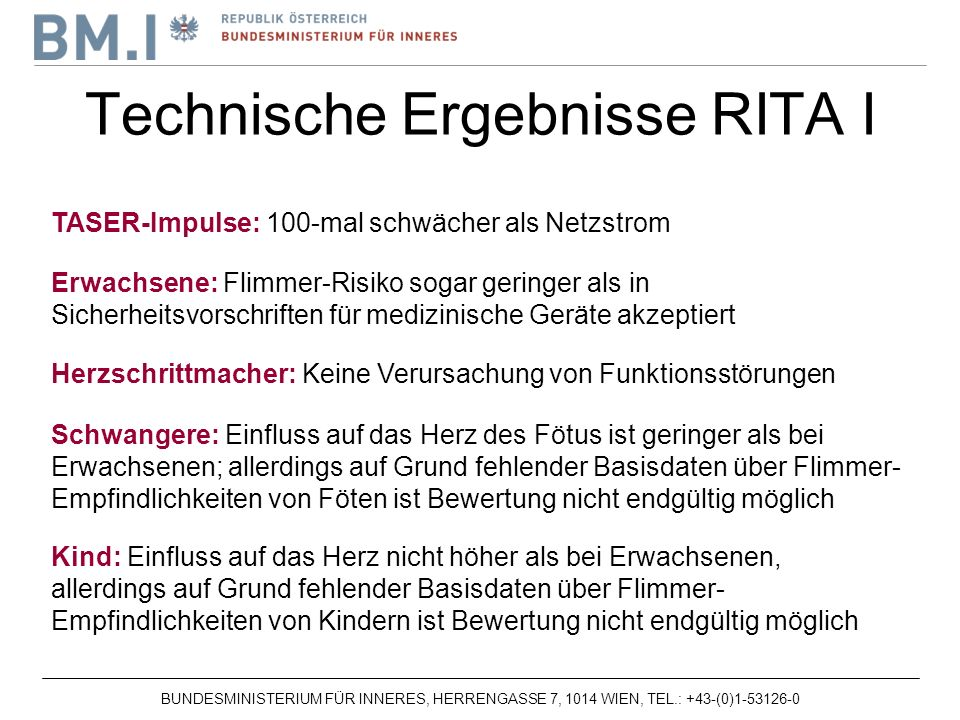 Technische Ergebnisse RITA I