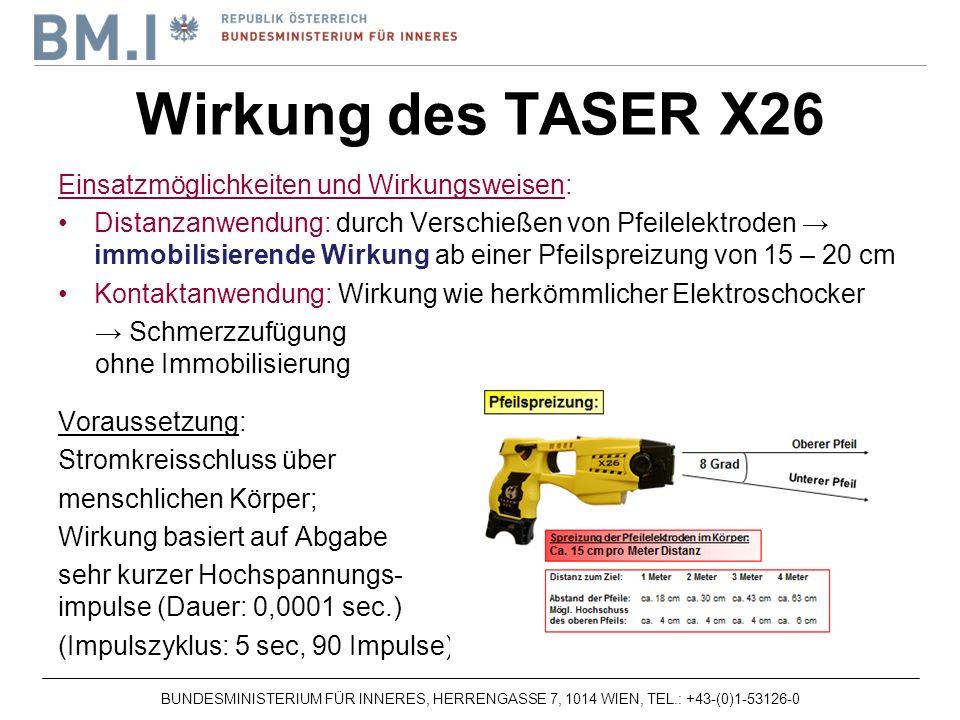 Wirkung des TASER X26 Einsatzmöglichkeiten und Wirkungsweisen: