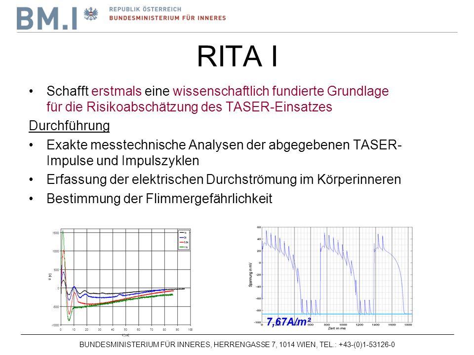 RITA I Schafft erstmals eine wissenschaftlich fundierte Grundlage für die Risikoabschätzung des TASER-Einsatzes.