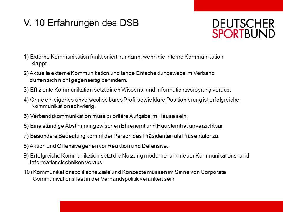 V. 10 Erfahrungen des DSB 1) Externe Kommunikation funktioniert nur dann, wenn die interne Kommunikation klappt.