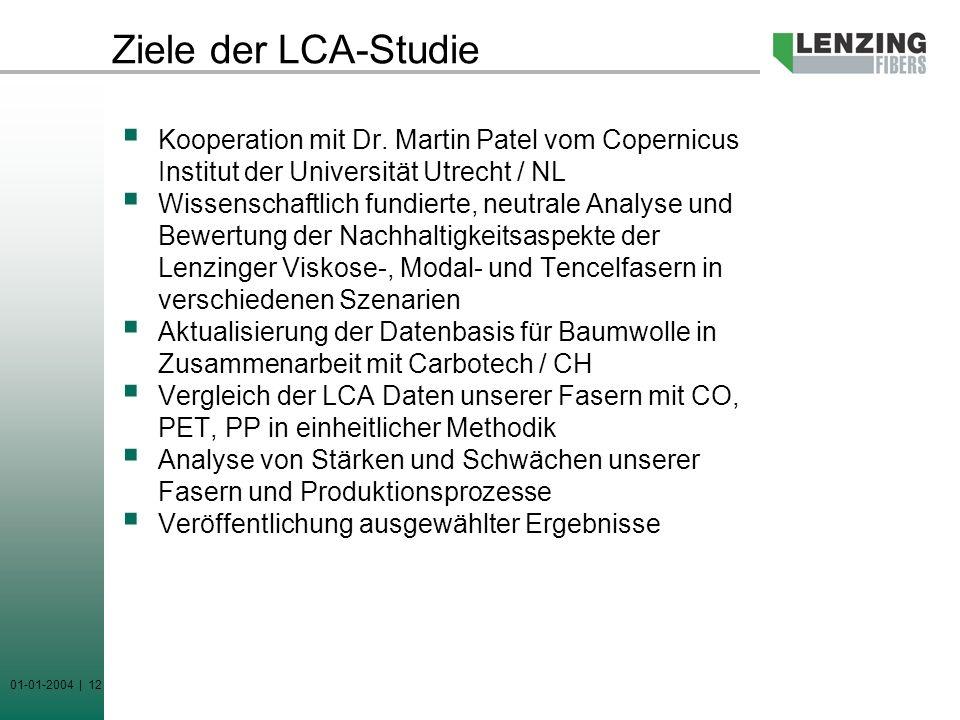 Ziele der LCA-Studie Kooperation mit Dr. Martin Patel vom Copernicus Institut der Universität Utrecht / NL.