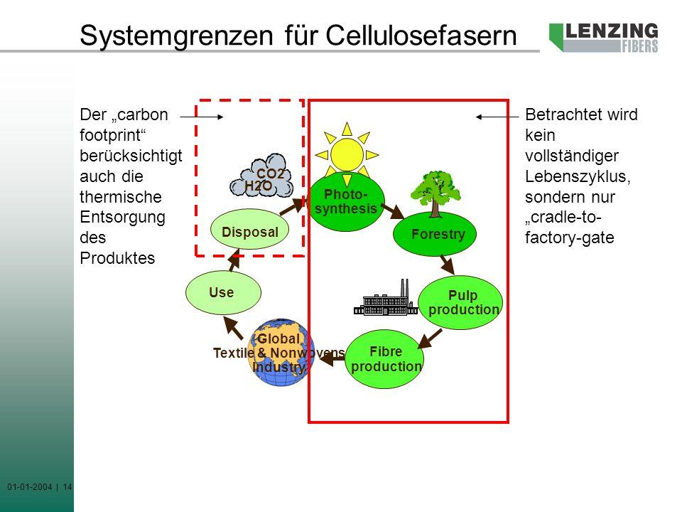 Systemgrenzen für Cellulosefasern