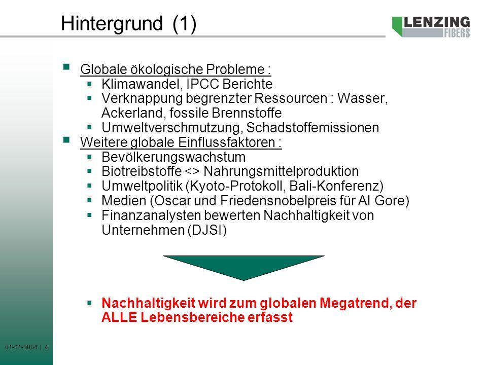 Hintergrund (1) Globale ökologische Probleme :