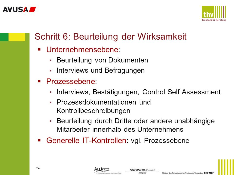 Schritt 6: Beurteilung der Wirksamkeit