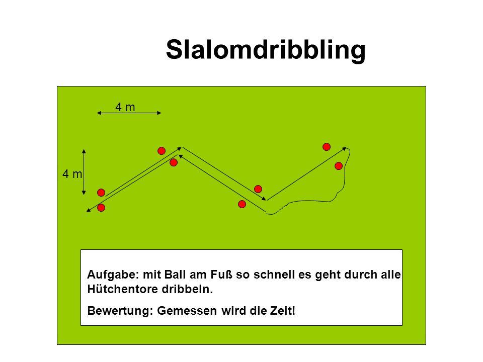 Slalomdribbling 4 m. 4 m. Aufgabe: mit Ball am Fuß so schnell es geht durch alle Hütchentore dribbeln.