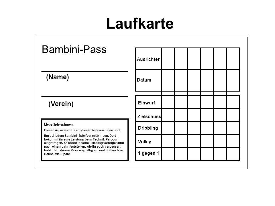 Laufkarte Bambini-Pass (Name) (Verein) Ausrichter Datum Einwurf
