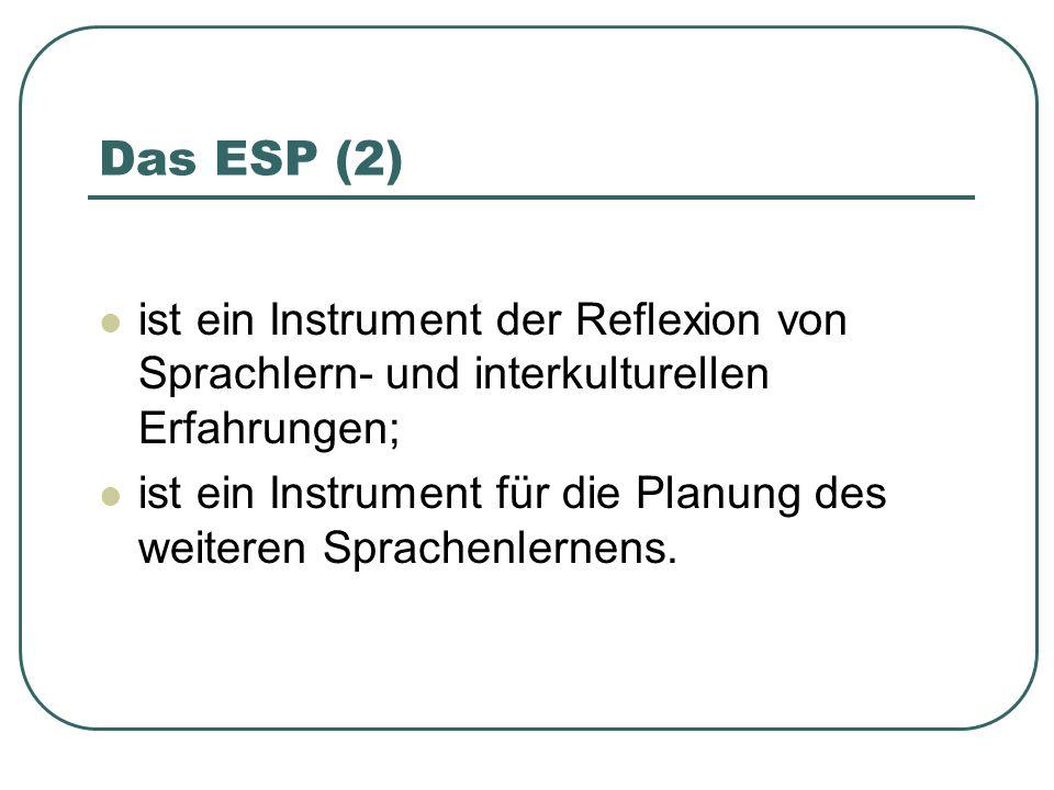 Das ESP (2) ist ein Instrument der Reflexion von Sprachlern- und interkulturellen Erfahrungen;