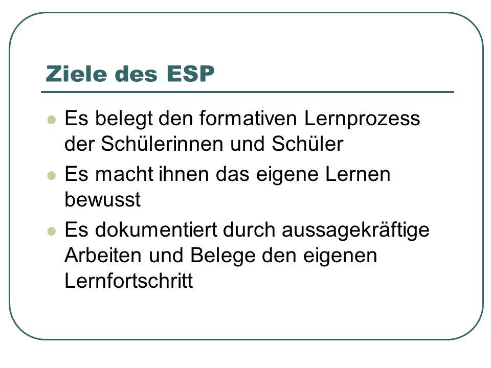 Ziele des ESP Es belegt den formativen Lernprozess der Schülerinnen und Schüler. Es macht ihnen das eigene Lernen bewusst.