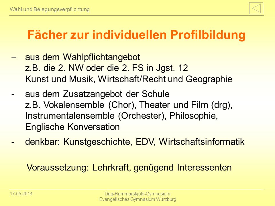Fächer zur individuellen Profilbildung