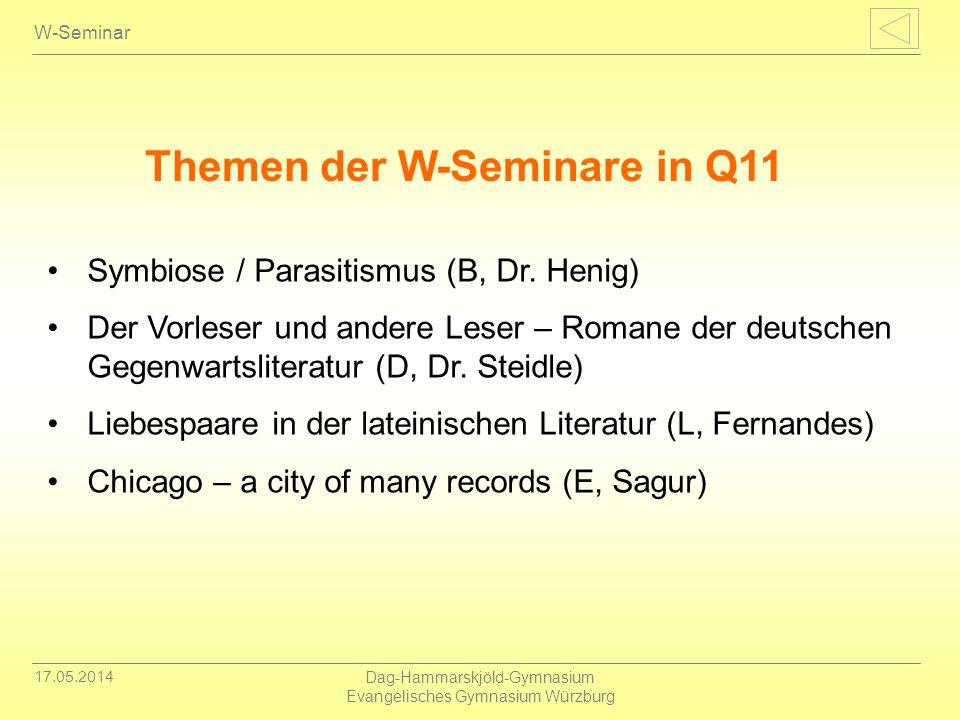 Themen der W-Seminare in Q11