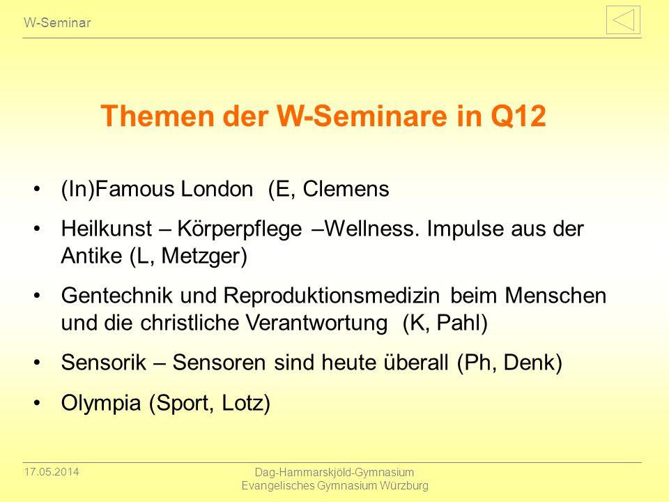 Themen der W-Seminare in Q12