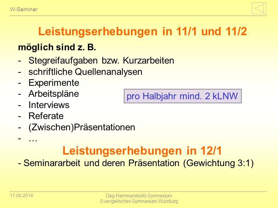 Leistungserhebungen in 11/1 und 11/2 Leistungserhebungen in 12/1