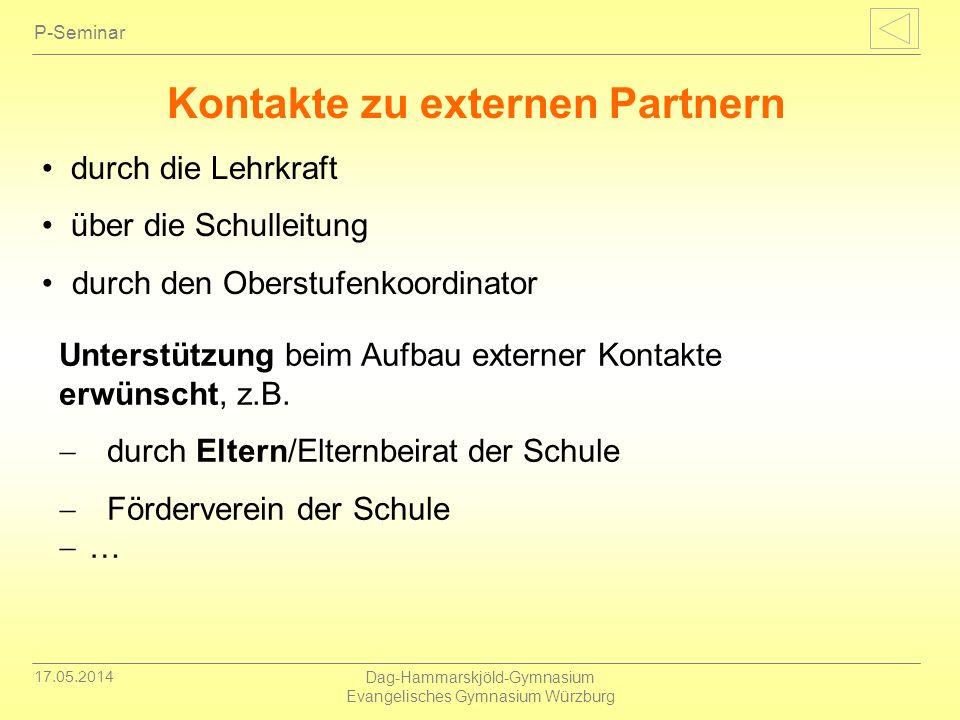 Kontakte zu externen Partnern