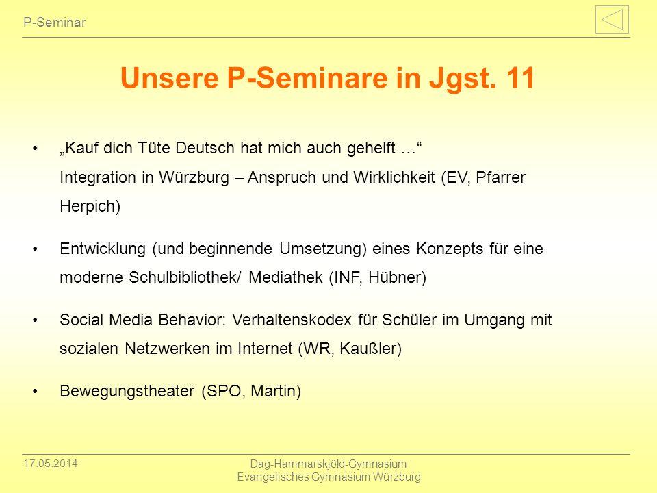 Unsere P-Seminare in Jgst. 11