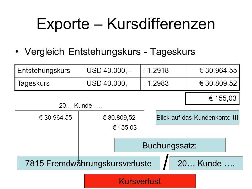 Exporte – Kursdifferenzen