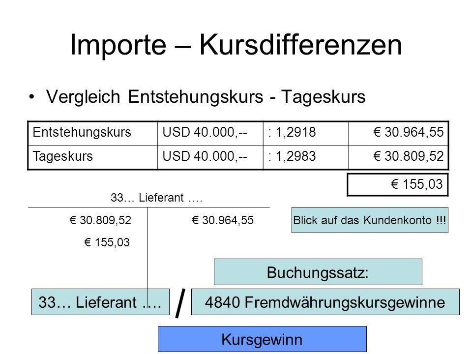 Importe – Kursdifferenzen