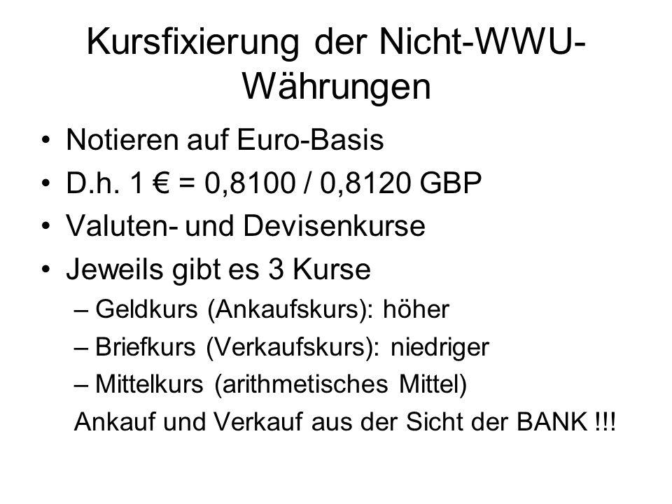 Kursfixierung der Nicht-WWU-Währungen