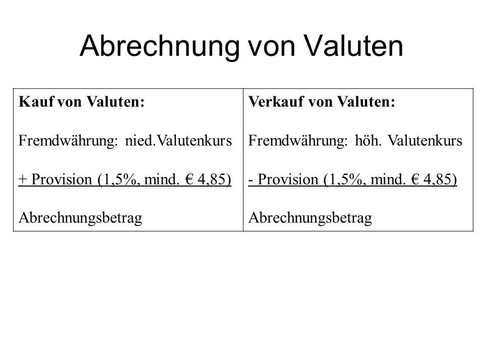 Abrechnung von Valuten
