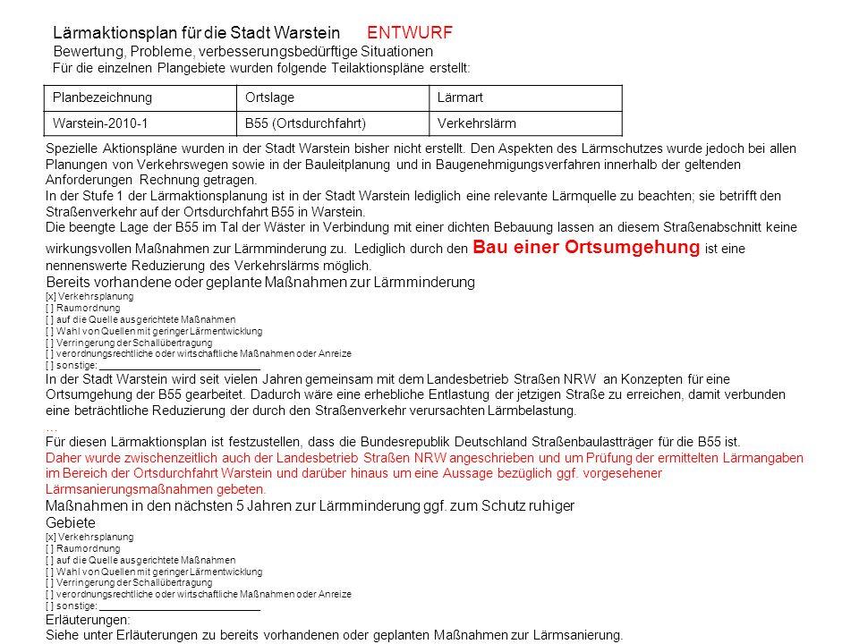 Lärmaktionsplan für die Stadt Warstein ENTWURF