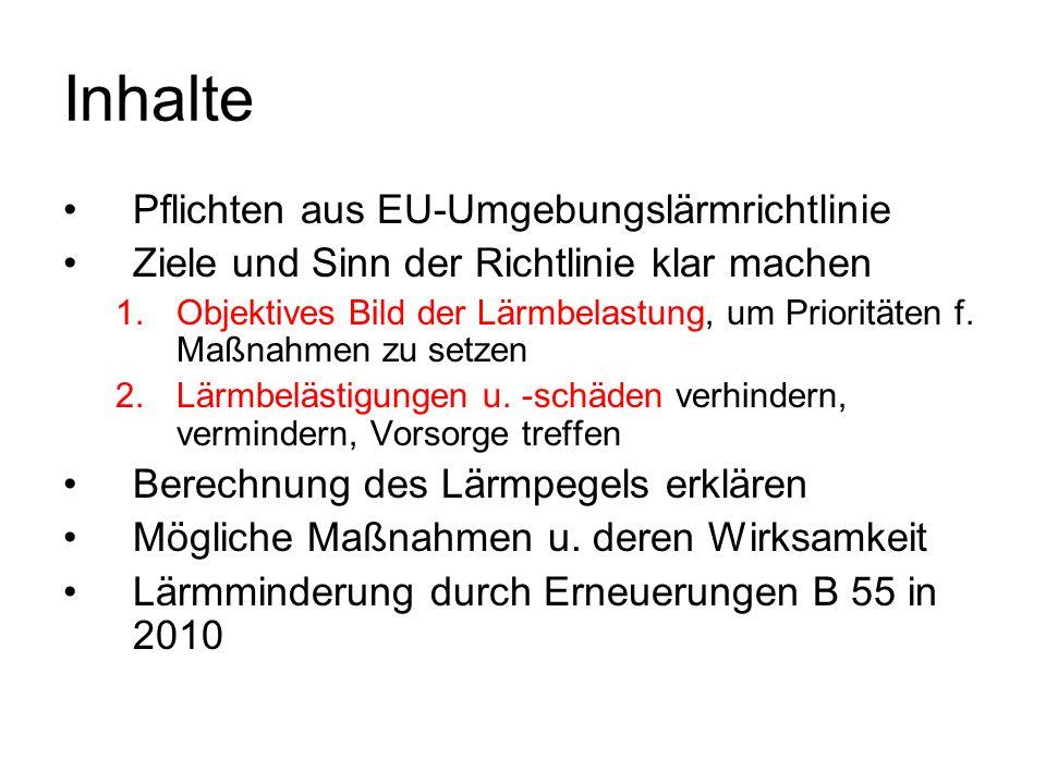 Inhalte Pflichten aus EU-Umgebungslärmrichtlinie