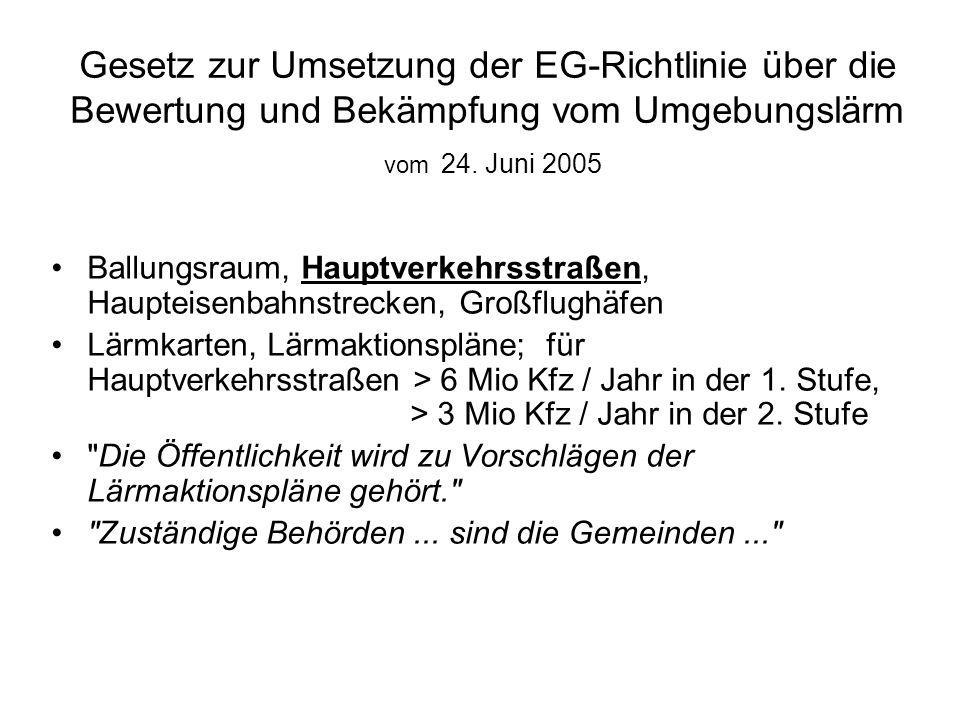 Gesetz zur Umsetzung der EG-Richtlinie über die Bewertung und Bekämpfung vom Umgebungslärm vom 24. Juni 2005