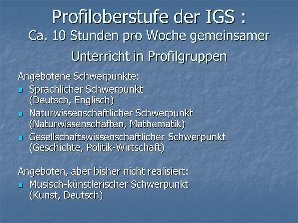 Profiloberstufe der IGS : Ca