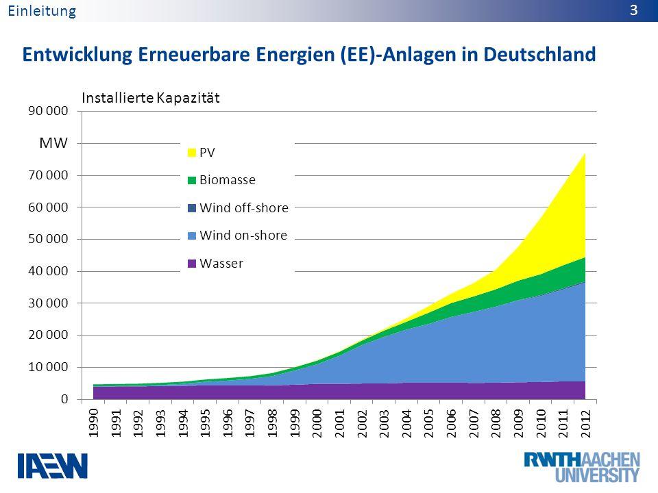 Entwicklung Erneuerbare Energien (EE)-Anlagen in Deutschland