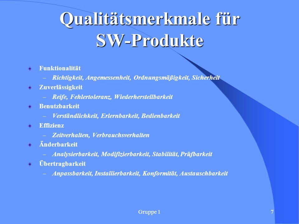 Qualitätsmerkmale für SW-Produkte
