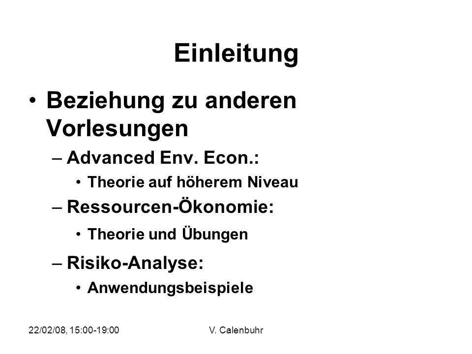 Einleitung Beziehung zu anderen Vorlesungen Advanced Env. Econ.: