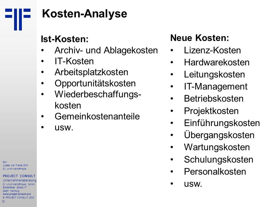 Kosten-Analyse Ist-Kosten: Archiv- und Ablagekosten IT-Kosten
