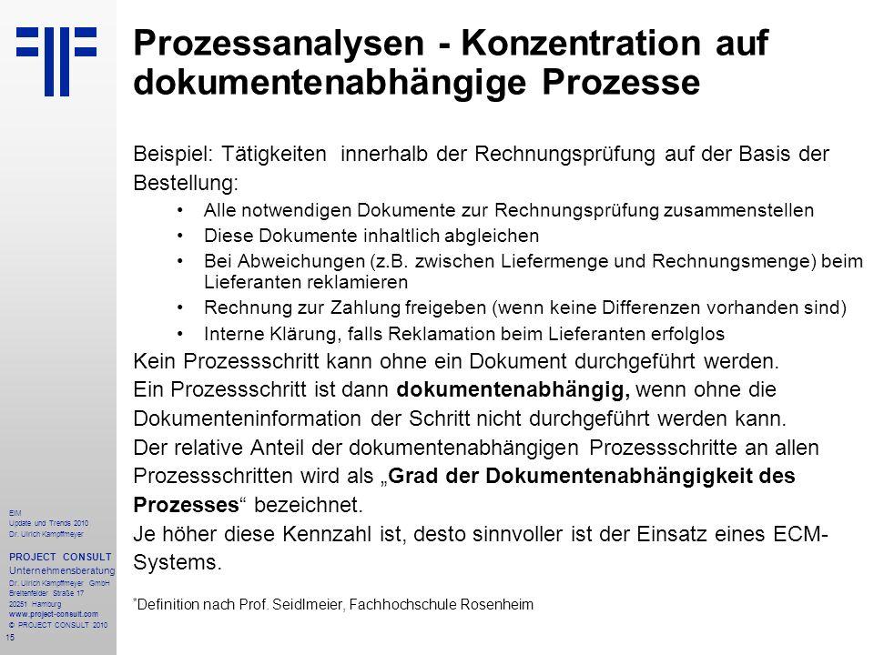 Prozessanalysen - Konzentration auf dokumentenabhängige Prozesse