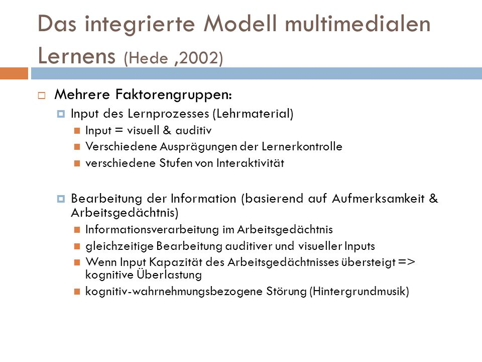 Das integrierte Modell multimedialen Lernens (Hede ,2002)