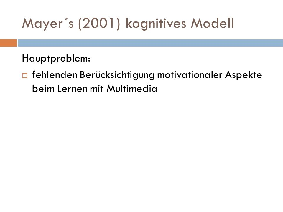 Mayer´s (2001) kognitives Modell