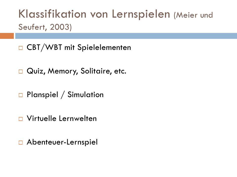 Klassifikation von Lernspielen (Meier und Seufert, 2003)