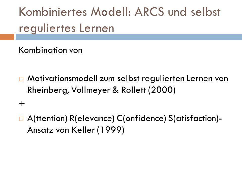 Kombiniertes Modell: ARCS und selbst reguliertes Lernen