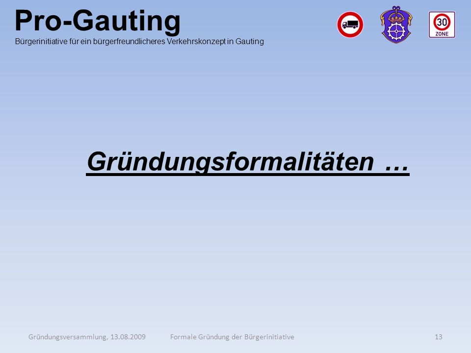Pro-Gauting Gründungsformalitäten …