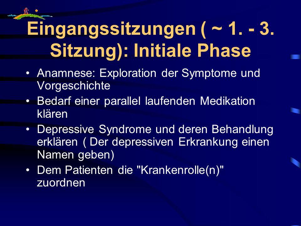 Eingangssitzungen ( ~ 1. - 3. Sitzung): Initiale Phase