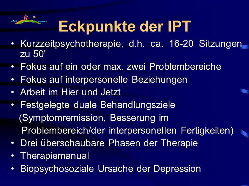 Eckpunkte der IPT Kurzzeitpsychotherapie, d.h. ca. 16-20 Sitzungen zu 50 Fokus auf ein oder max. zwei Problembereiche.