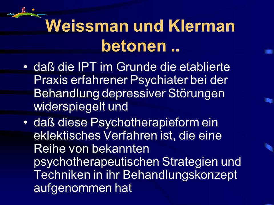 Weissman und Klerman betonen ..