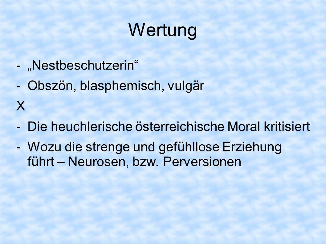 """Wertung """"Nestbeschutzerin Obszön, blasphemisch, vulgär X"""