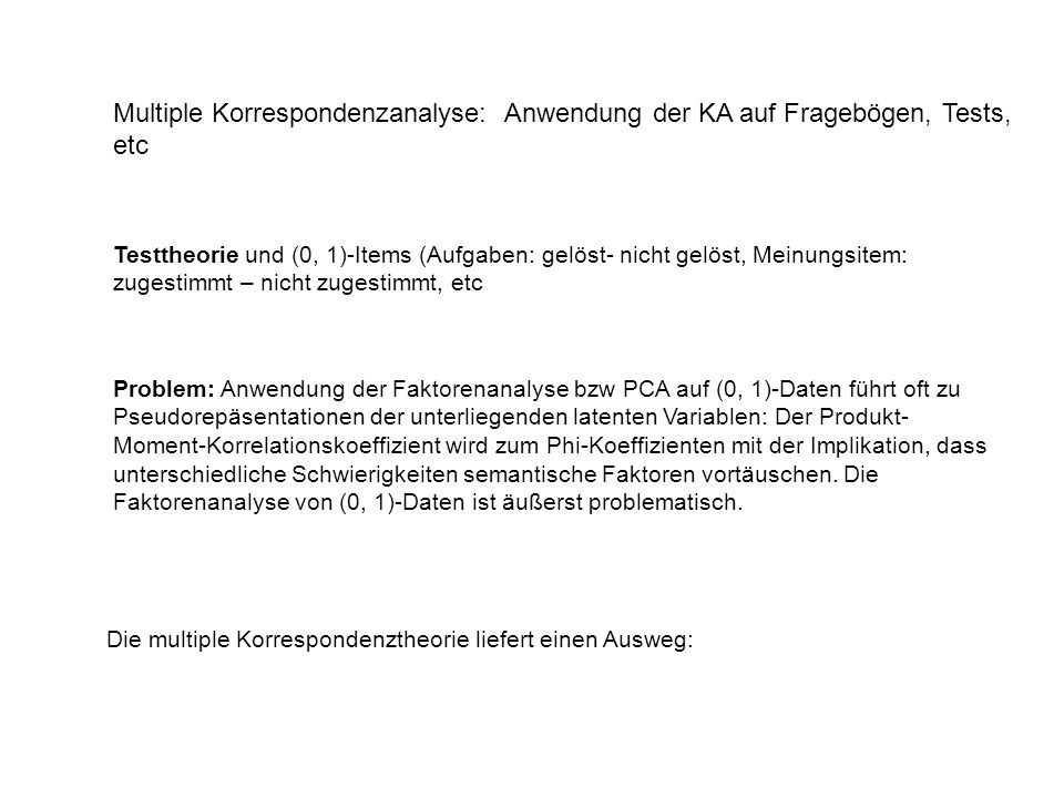 Multiple Korrespondenzanalyse: Anwendung der KA auf Fragebögen, Tests, etc