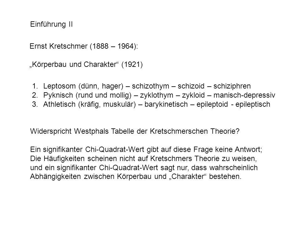 """Einführung II Ernst Kretschmer (1888 – 1964): """"Körperbau und Charakter (1921) Leptosom (dünn, hager) – schizothym – schizoid – schiziphren."""