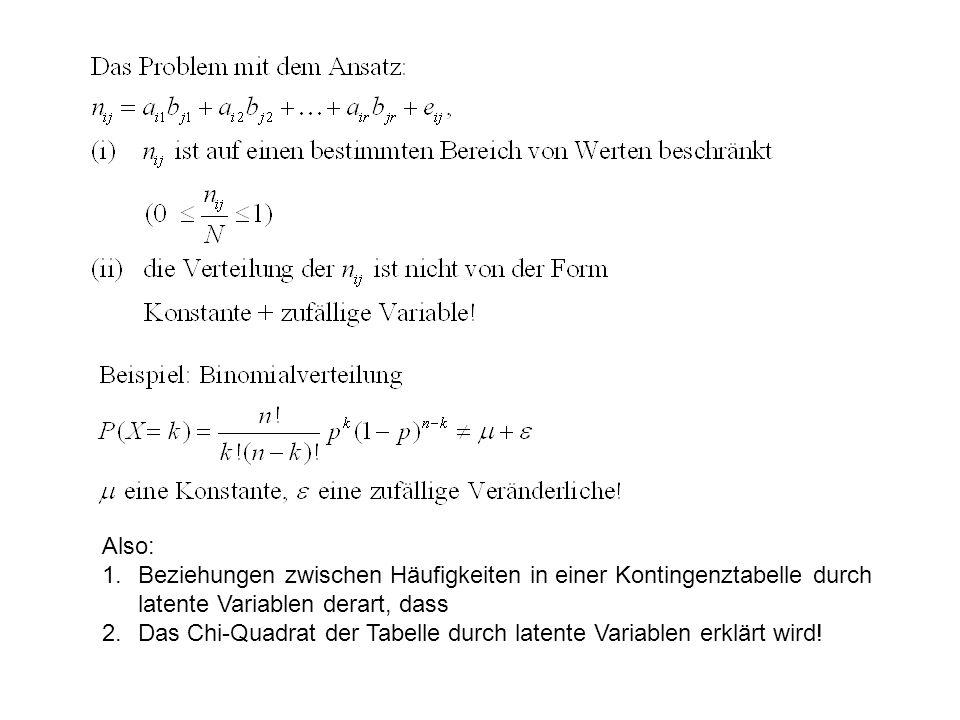 Also: Beziehungen zwischen Häufigkeiten in einer Kontingenztabelle durch latente Variablen derart, dass.