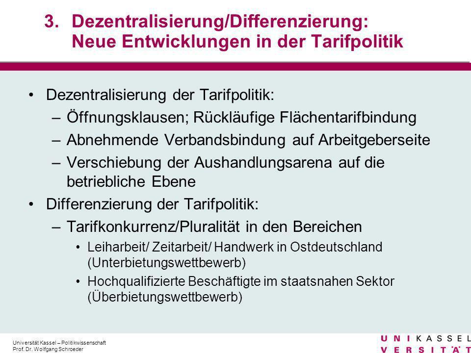 3. Dezentralisierung/Differenzierung: Neue Entwicklungen in der Tarifpolitik