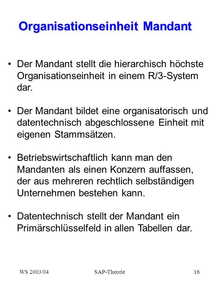 Organisationseinheit Mandant