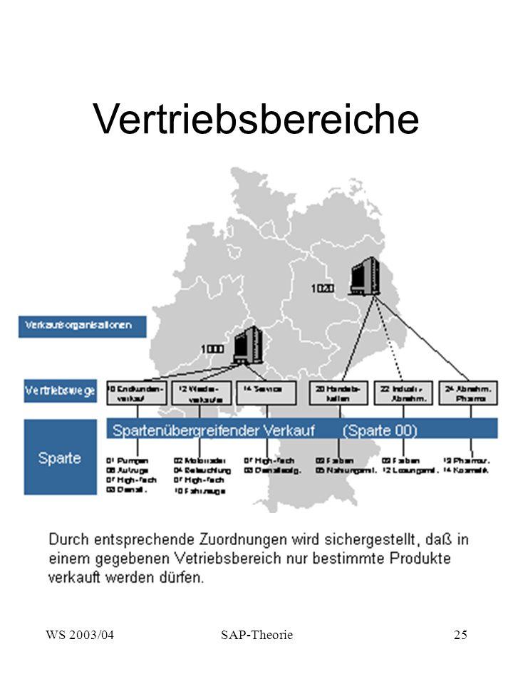 Vertriebsbereiche WS 2003/04 SAP-Theorie