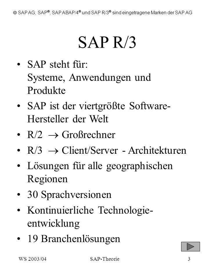 SAP R/3 SAP steht für: Systeme, Anwendungen und Produkte