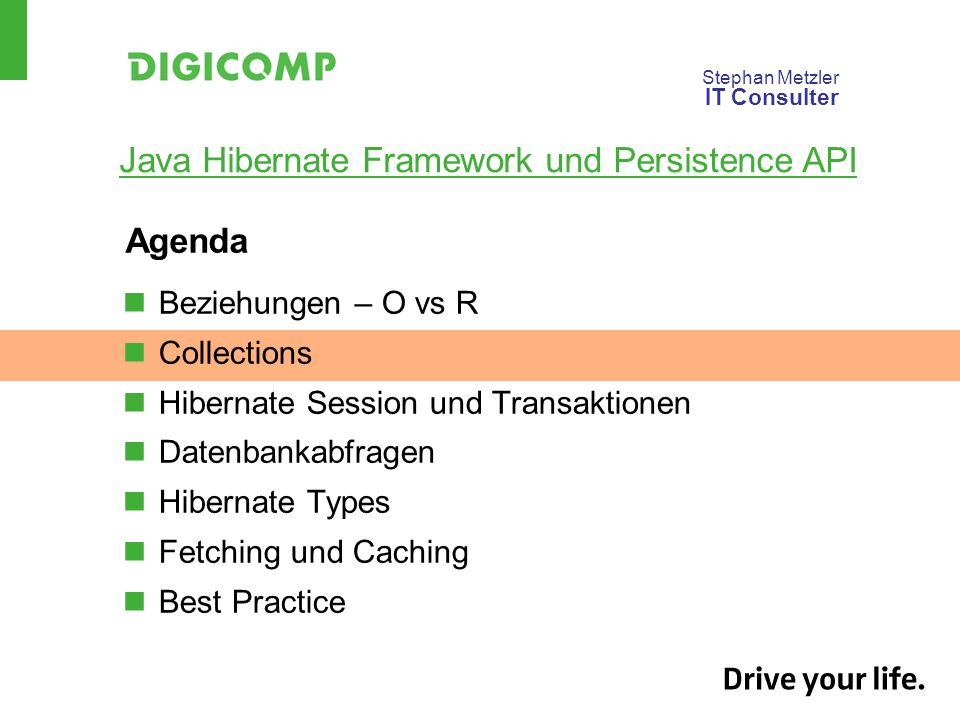 Agenda Beziehungen – O vs R Collections